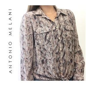 Antonio Melani Silk Snakeskin Button Up Blouse
